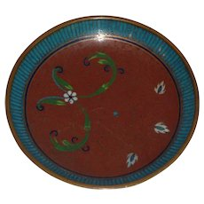 Chinese Cloisonné Blue and Red Small Dish