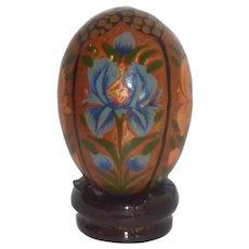 Asian Floral Wooden Egg
