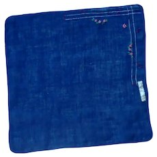 Navy Blue Embroidered  Linen Handkerchief Hanky