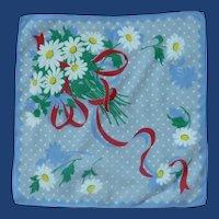 Linen Blue with White Daisy Daisies Handkerchief Hanky