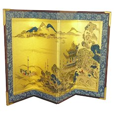 Asian Miniature Cardboard Folding Screen