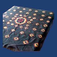 Black Tie Dye Silk Scarf 1970's