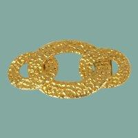 Large Patterned Gold Tone Belt Buckle