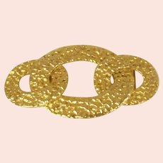 Large Patterned Gold Tone Belt Buckle