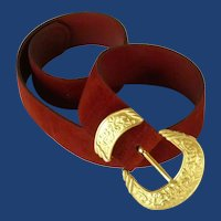 Red Suede Belt with Gold Tone Buckle