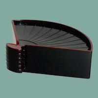 Very Unusual Black Fan Coasters / Holder