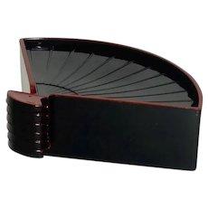 Very Unusual Black Fan Coasters / Holder