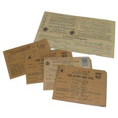 4 World War II Ration Books