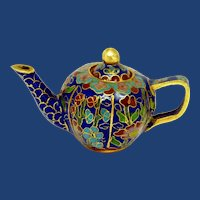 Beautiful Miniature Cloisonné Cobalt Blue Teapot