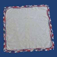 Red White and Blue Patriotic White Handkerchief Hankie