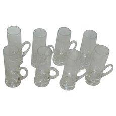 Set of 8 Thistle Etched Handled Cordial Liqueur Glasses