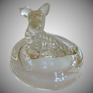 Jeanette Clear Glass Trinket Powder Box Lid Only
