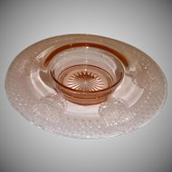 Small Pink Etched Depression Glass Console Bowl