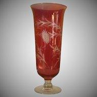 Large Red Flash Etched  Floral and Leaf Glass Pedestal Vase