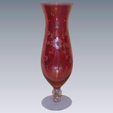 Red Flash Etched Floral and Leaf Glass Hurricane Vase