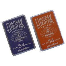 Red  and Blue Europak Toilees Heron French Playing Cards
