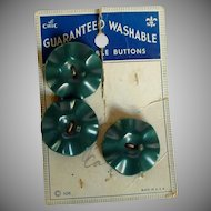 Three Le Chic 1940's Plastic Green Buttons