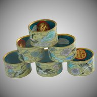 1970's Cloisonné Napkin Holders Set of 6
