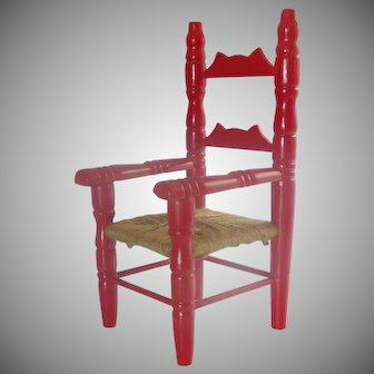 Red Miniature Doll Chair with Rush Style Seat