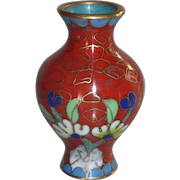 Red Floral Oriental Miniature Cloisonné Brass Enamel Vase Urn