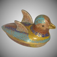 Cloisonné Metal Asian Bird Box