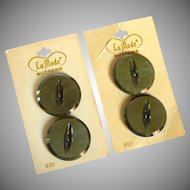 Four La Mode Olive  Green Buttons from Holland