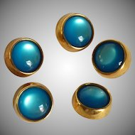 Five Aquamarine Color Gold Tone Dome Buttons