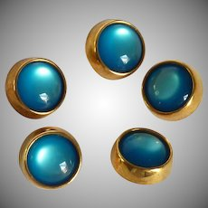 Five Aquamarine Color Gold Tone Dome Buttons