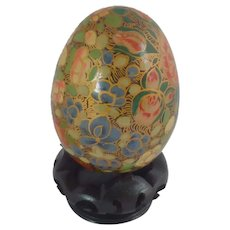 Asian India Floral Pattern Wood Egg