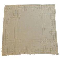 Beautiful Drawn Work White Handkerchief