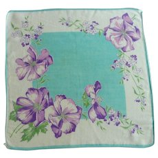 Cotton 1950's Purple Poppies on Aqua White Handkerchief Hankie