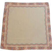 Large White with Pink and Black Border Handkerchief Hankie