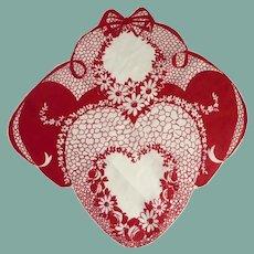 Valentine Heart Red Cotton Handkerchief Hanky
