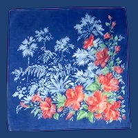 Beautiful Blue Day Lily Flower Handkerchief Hanky –