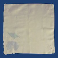 White Cotton Handkerchief with Blue Appliqued Flower
