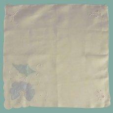 White Cotton Handkerchief with Blue Appliqued Flower
