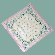 White Cotton with Blue Flowers Handkerchief