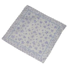 Signed Jean D'Orly Paris Blue Rose on White Handkerchief