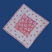Bright Pink and Orange Handkerchief  Hanky