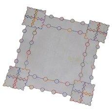 Small Unusual Handkerchief Mulit Colored Thread