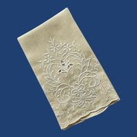 Beige Tan Cutout Embroidered Hand Towel