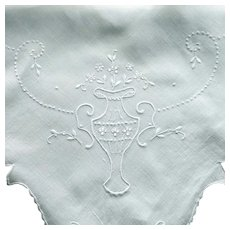 Small White on White Square Tablecloth