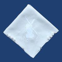 Soft Grey Applique Windmill Tablecloth