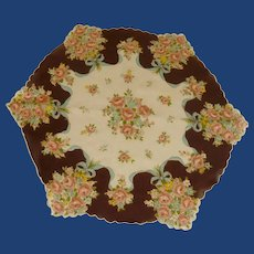 Brown Pink Bouquet Flowers Round Handkerchief Hanky