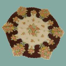 Brown Pink Bouquet Flowers Round Handkerchief Hanky