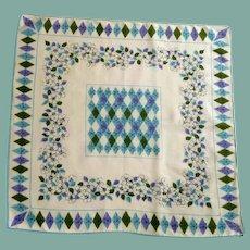 Diamonds and Flowers on White Cotton Handkerchief Hanky