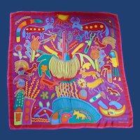 Adrienne Vittadini Vibrant and Whimsical Silk Scarf