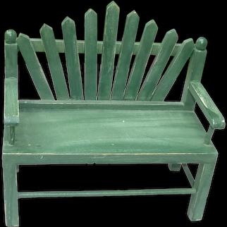Green Wood Garden Doll Bench Chair