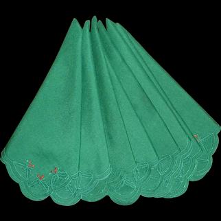 Green Set of 8 Christmas Cloth Napkins