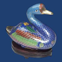 Asian Blue Cloisonné Swan with Wood Stand